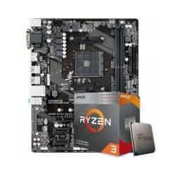 Placa Mãe GA-A320M-S2H AMD AM4 + Proc. AMD Ryzen 3 3200G