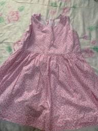 Vestido infantil de algodão tamanho 12, estampa rosa