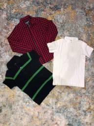 Lote 3 camisas menino, 10 anos
