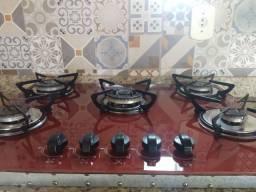 Cooktop Casavitra 5 bocas vermelho