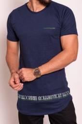 Camiseta Long line Masculina Manga Curta