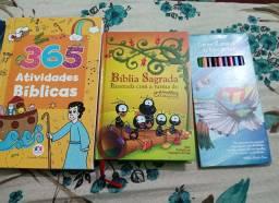 Bíblia infantil+365 atividades bíblicas+lápis de cor