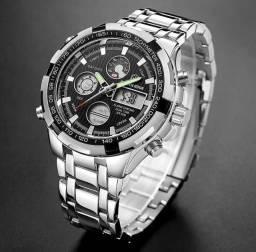 Relógio Cromado Importado Golden Hour SB GH-108SB