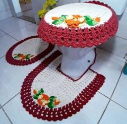 Tapete Banheiro Crochê Jogo 3 Peças Rajado