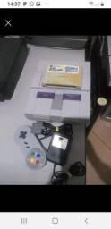 Super Nintendo cartucho Super Mario World 1 controle cabos de ligar e fonte zap *