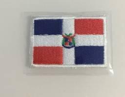 Patch aplique bordado termocolante bandeira republica domenicana 4,5 por 3,0 cm