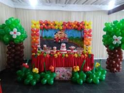 Buffet infantil, salão, Decoração, piscina, churrasqueira e área externa