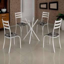Conjunto de Mesa Ipanema Tampo vidro com 4 Cadeiras 70×70