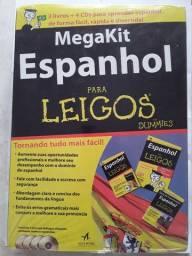MegaKit Espanhol para Leigos (box novo e lacrado, com 3 livros e 4 CDs)