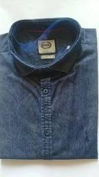 Camisa  de botão manga curta slim  jeans estampado  estimado tamanho  XG
