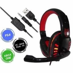 Headset Gamer Ps4 Fone Ouvido Com Microfone Usb P2 Led