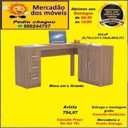 Mesa em L 2 Portas e 3 gavetas até 10x nos cartões(Entrega e montagem grátis)