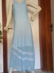 Vestido amassado  azul forro branco