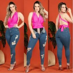 Calça Jeans Feminino slim chapa barriga com cinta
