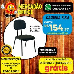 Cadeira Secretária Fixa Preta - Entrega Grátis