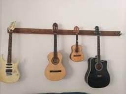 Suporte com instrumentos guitarra, Viola  caipira, cavaquinho, Violao Folk