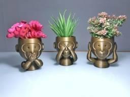 Kit de Vasos 3 Macacos Sábios 3D vermelho