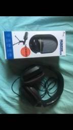 Fone Razer e microfone condensador