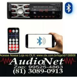 Radio Com Bluetooth First Option 6660bcn C/ Controle 1 Din Usb Aux Mp3 Som Player