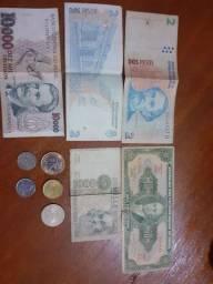 Coleção  de notas e moedas antigas