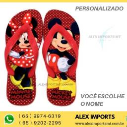 Chinelo Personalizada Vermelho Mickey Minnie Minei