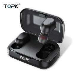 Fone D Ouvido Bluetooth Sem Fio Topk F22 Preto Com Microfone