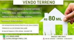 Vendo Terreno Campinho - R$ 80 mil