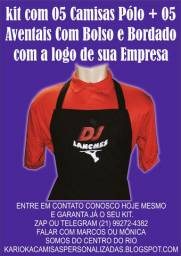 Kit com 05 camisas Polos + 05 Aventais bordado com a logo de sua Empresa