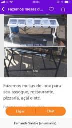 Fazemos mesas de inox para seu assogue, restaurante, pizzaria, açaí e etc.