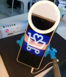 Bastao de selfie +mini ring light para celular