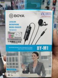 Microfone de lapela Boya M1 para câmeras e celular 6 metros