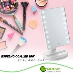 Espelho de Mesa com LED 180º com Brilho Ajustável Alimentação por 4 Pilhas AA
