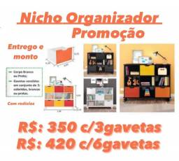 Estante com nichos promoção com 3 gavetas