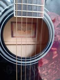 Um violão eletrônico cor preta