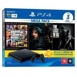 PS4 1TB + Jogos + PS Plus 1 ano com jogos + acessórios