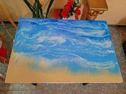 Mesa de tampo resinado river table