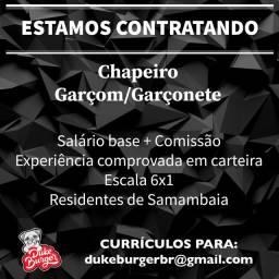 CONTRATA-SE CHAPEIRO E GARÇOM/GARÇONETE