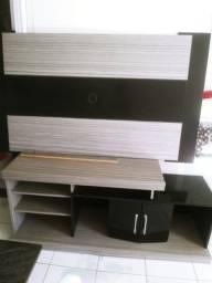 Conjunto rack com painel cinza