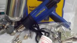 Soprador Térmico 2000w 220volts + Pistola Pintura Gravidade Caneca 1000 Ml Rosca 1/4