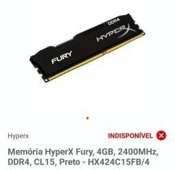 Memória DDR4 Fury 2400mhz 4gb pc