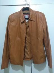 Jaqueta de couro alaranjada