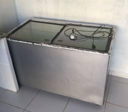 freezer horizontal com tampa de vidro