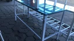 Mesa 1,90 x 55 tampo inox e pés pintados *