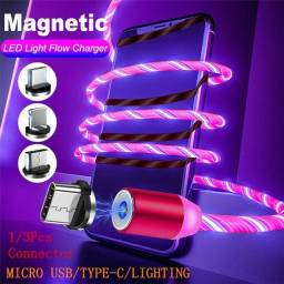 """""""Cabo led 2 metros 3 em 1 iphone , android , type-c magnetico brilho pulsante"""""""
