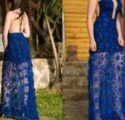 Vestido azul lucca vasconcellos