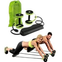 Kit De Treino Com Rodas Para Exercício Abdominal Revoflex Xtreme Musculação Elástico