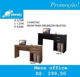 mesa para escritório com nicho para organizar objetos