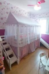 Cama infantil com escorregador Tenda Castelo Lilás Telhado Completo