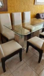 Mesa de vidro , pés de mármore, 6 cadeiras