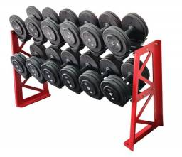 kit de dumbbells 6 pares 12kg ao 30kg + suporte profissional fc sports